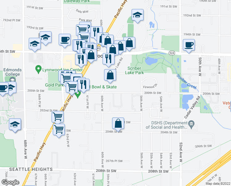 map of restaurants, bars, coffee shops, grocery stores, and more near 5714 200th Street Southwest in Lynnwood