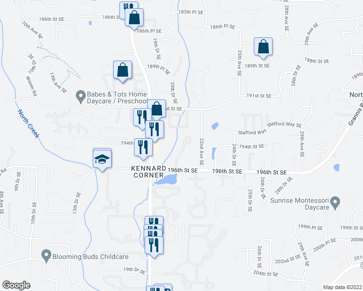 map of restaurants, bars, coffee shops, grocery stores, and more near 2009 196th Street Southeast in Bothell
