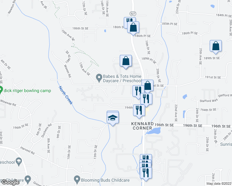 map of restaurants, bars, coffee shops, grocery stores, and more near 1526 192nd St SE in Bothell