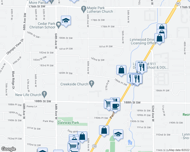 map of restaurants, bars, coffee shops, grocery stores, and more near 5825 186th Pl SW in Lynnwood