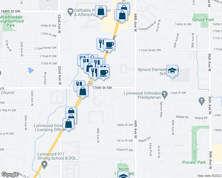 map of restaurants, bars, coffee shops, grocery stores, and more near 17525 Washington 99 in Lynnwood