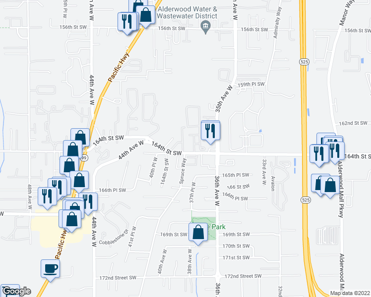 map of restaurants, bars, coffee shops, grocery stores, and more near 3742-3798 164th St SW in Lynnwood