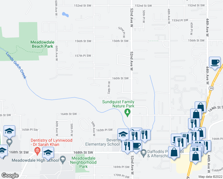 map of restaurants, bars, coffee shops, grocery stores, and more near 16026 54th Place West in Edmonds