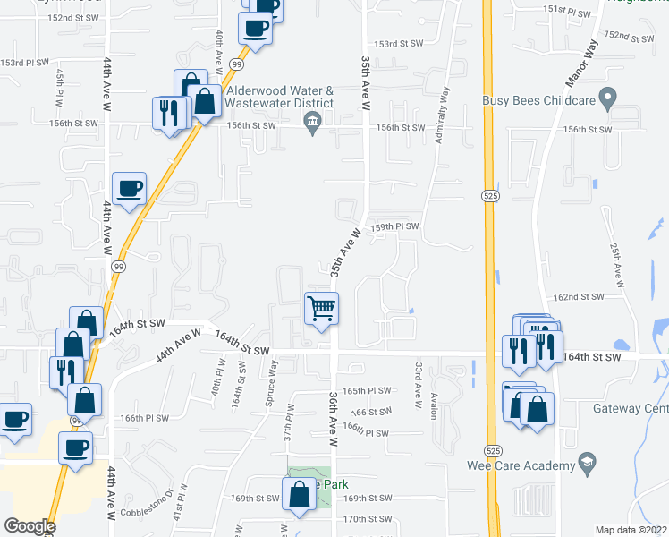 map of restaurants, bars, coffee shops, grocery stores, and more near 15929-16017 35th Avenue West in Lynnwood