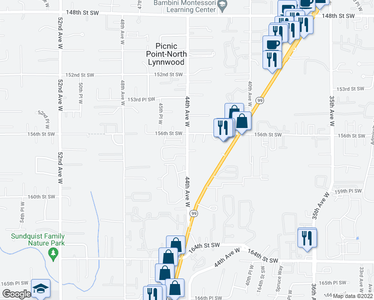 map of restaurants, bars, coffee shops, grocery stores, and more near 15715 44th Avenue West in Lynnwood