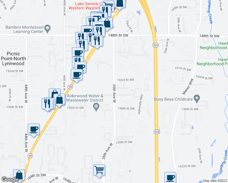 map of restaurants, bars, coffee shops, grocery stores, and more near 15405-15455 35th Ave W in Lynnwood