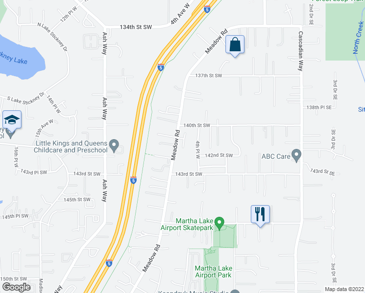 map of restaurants, bars, coffee shops, grocery stores, and more near 14118 5th Pl W in Lynnwood