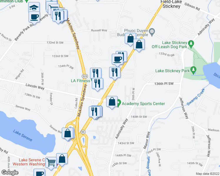 map of restaurants, bars, coffee shops, grocery stores, and more near 13679-13709 Evergreen Way in Lynnwood