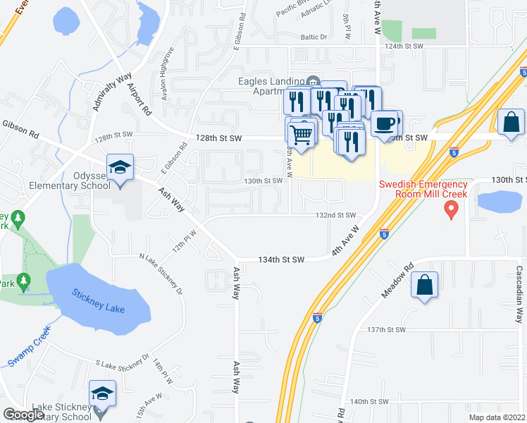 map of restaurants, bars, coffee shops, grocery stores, and more near 900 132nd Street Southwest in Lynnwood