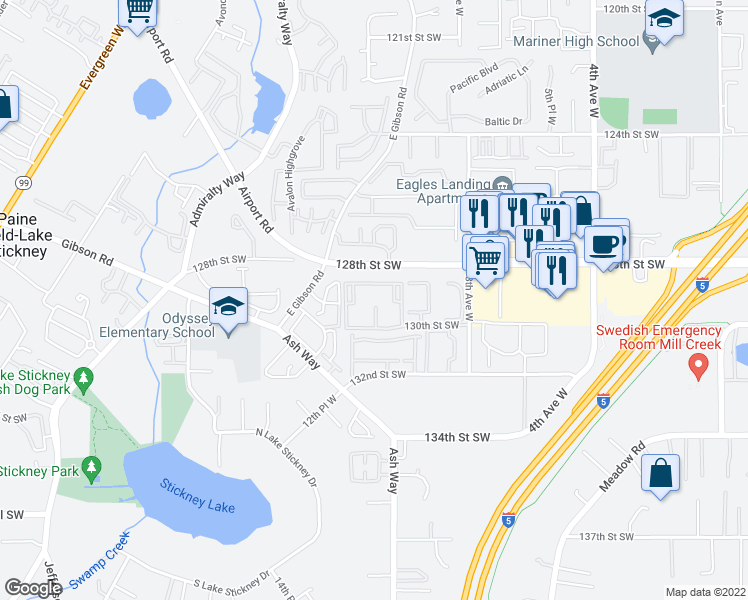 map of restaurants, bars, coffee shops, grocery stores, and more near 1120-1322 128th Street Southwest in Everett