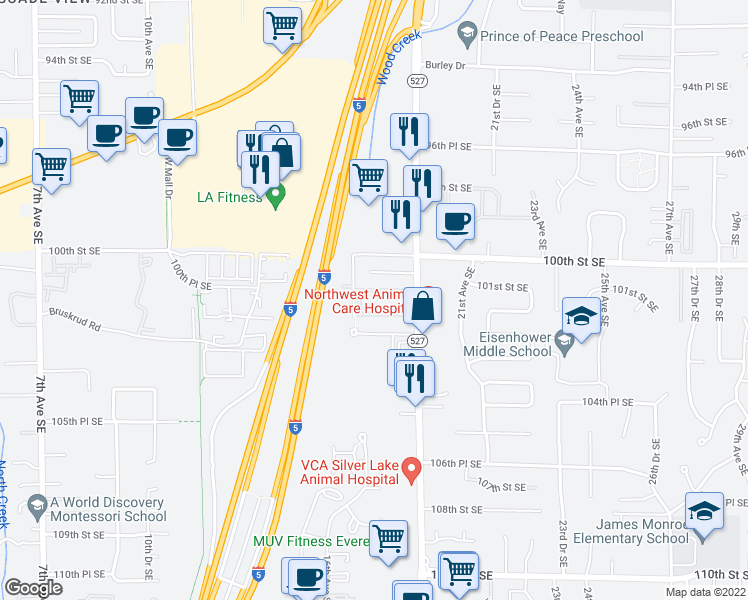 map of restaurants, bars, coffee shops, grocery stores, and more near 16th Ave SE in Everett