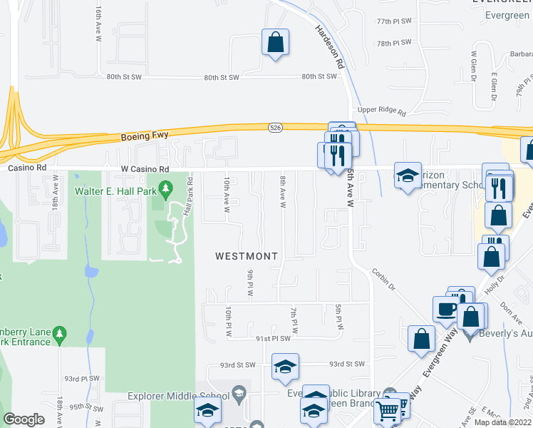 map of restaurants, bars, coffee shops, grocery stores, and more near 8518 8th Avenue West in Everett
