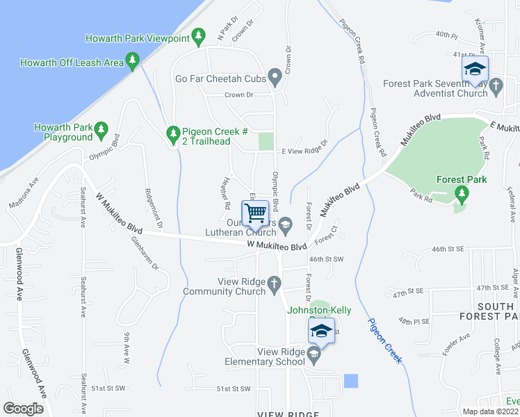 map of restaurants, bars, coffee shops, grocery stores, and more near 4520 Olympic Boulevard in Everett
