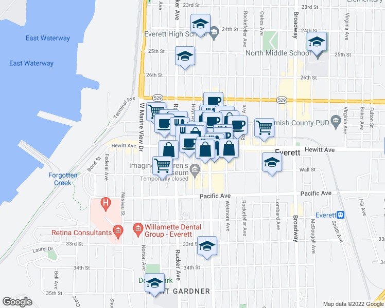 map of restaurants, bars, coffee shops, grocery stores, and more near 1508 Hewitt Avenue in Everett