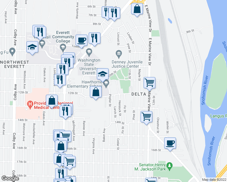 map of restaurants, bars, coffee shops, grocery stores, and more near 1043-1199 Poplar St in Everett