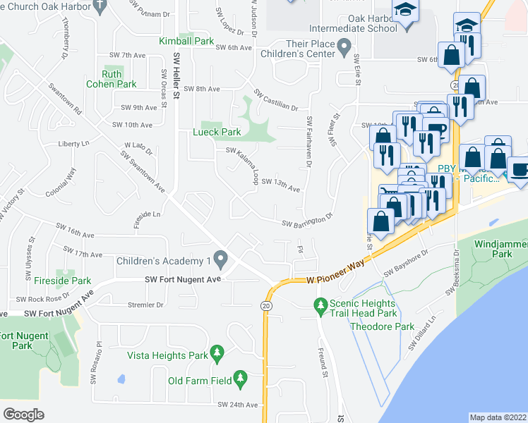 map of restaurants, bars, coffee shops, grocery stores, and more near 945 Southwest Barrington Drive in Oak Harbor
