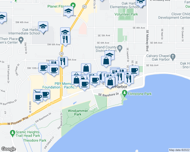 map of restaurants, bars, coffee shops, grocery stores, and more near 455 SE Barrington Dr in Oak Harbor