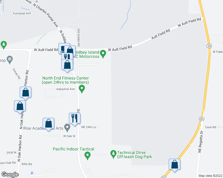 map of restaurants, bars, coffee shops, grocery stores, and more near 3078 Goldie Road in Oak Harbor