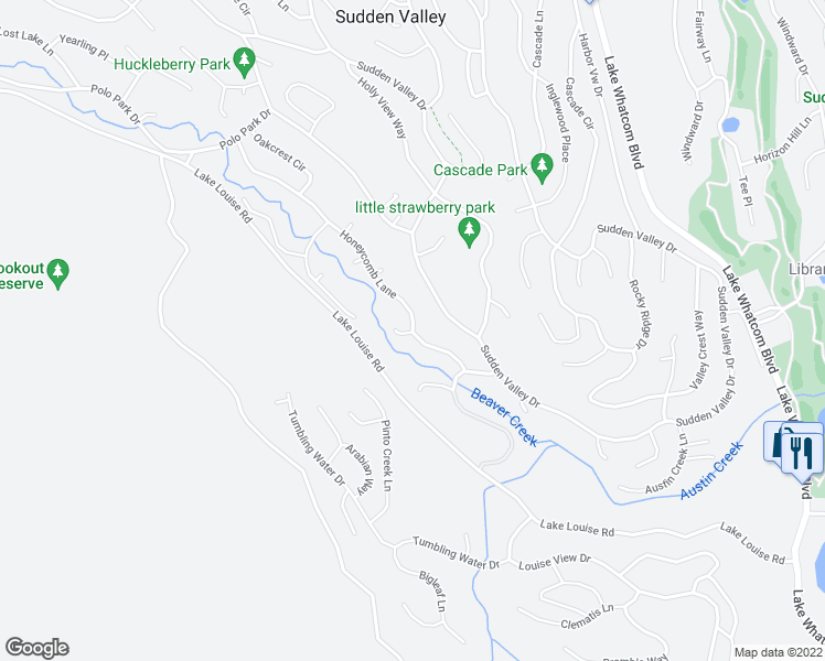 map of restaurants, bars, coffee shops, grocery stores, and more near 41 Honeycomb Lane in Bellingham