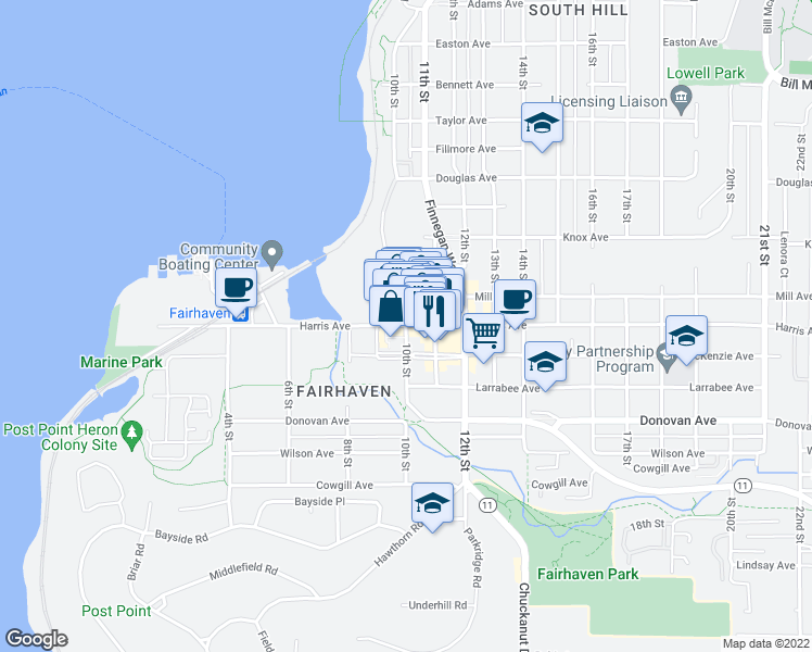 map of restaurants, bars, coffee shops, grocery stores, and more near Harris Ave & 10th St in Bellingham