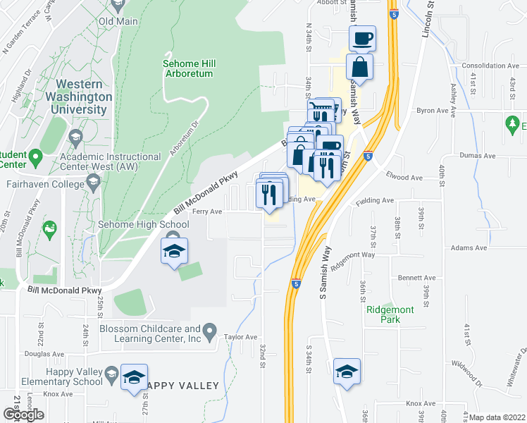 map of restaurants, bars, coffee shops, grocery stores, and more near 32nd St & Ferry Ave in Bellingham