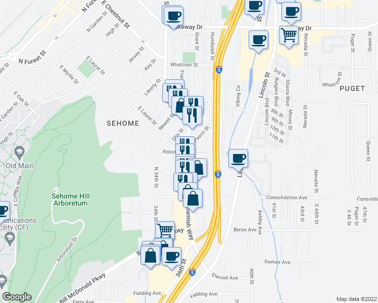 map of restaurants, bars, coffee shops, grocery stores, and more near Samish Way & Abbott St in Bellingham