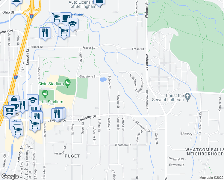 map of restaurants, bars, coffee shops, grocery stores, and more near 1424 Toledo St in Bellingham