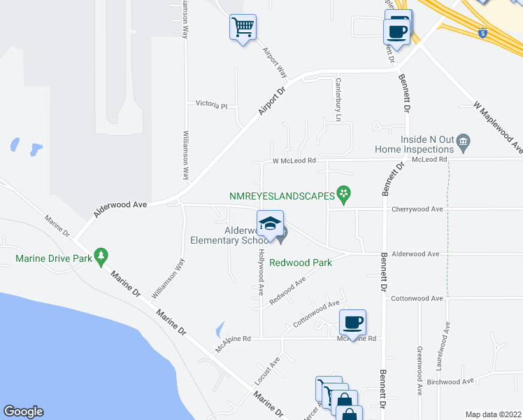 map of restaurants, bars, coffee shops, grocery stores, and more near 3372 Hollywood Ave in Bellingham