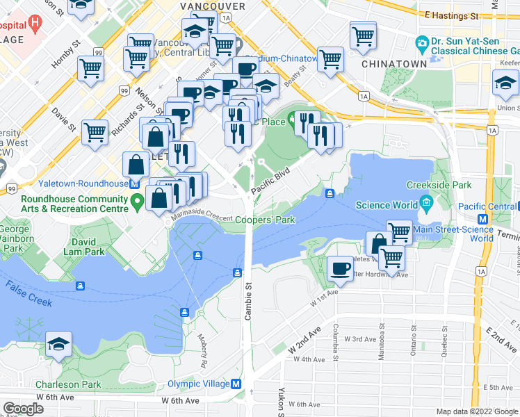 map of restaurants, bars, coffee shops, grocery stores, and more near 980 Cooperage Way in Vancouver