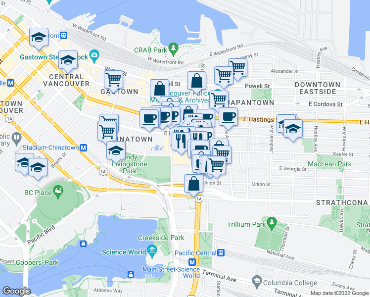 map of restaurants, bars, coffee shops, grocery stores, and more near in Vancouver