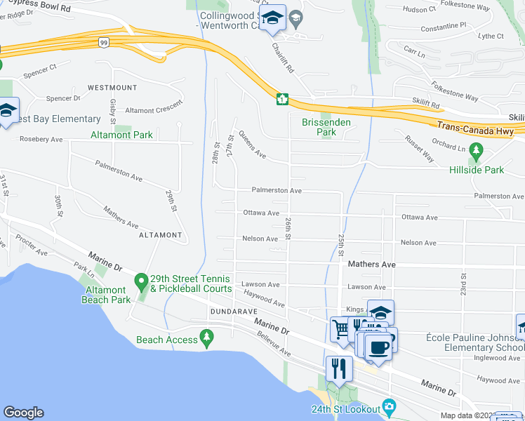 map of restaurants, bars, coffee shops, grocery stores, and more near in Greater Vancouver Regional District
