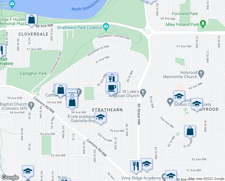 map of restaurants, bars, coffee shops, grocery stores, and more near 9542 87 St NW in Edmonton