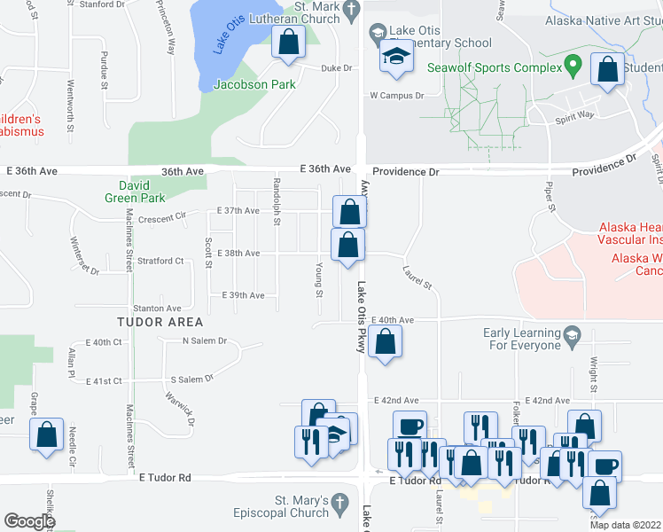 map of restaurants, bars, coffee shops, grocery stores, and more near 3735 Young St in Anchorage