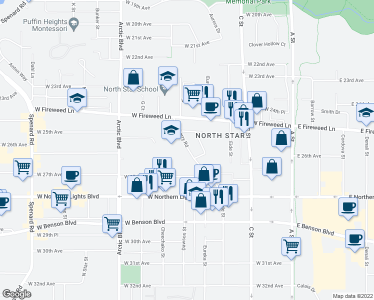 map of restaurants, bars, coffee shops, groce