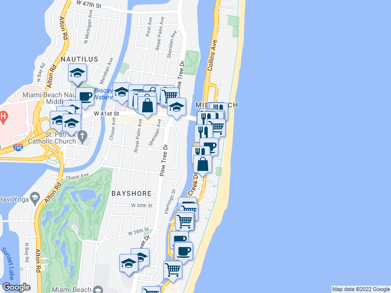 map of restaurants, bars, coffee shops, grocery stores, and more near Indian Creek Dr & 38th St in Miami Beach
