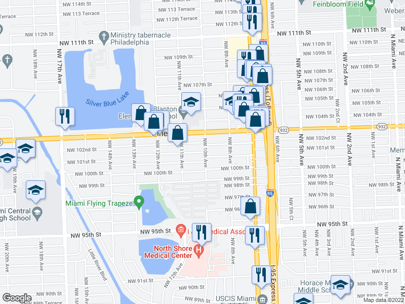 map of restaurants, bars, coffee shops, grocery stores, and more near 10100-10114 NW 10th Ave in Miami