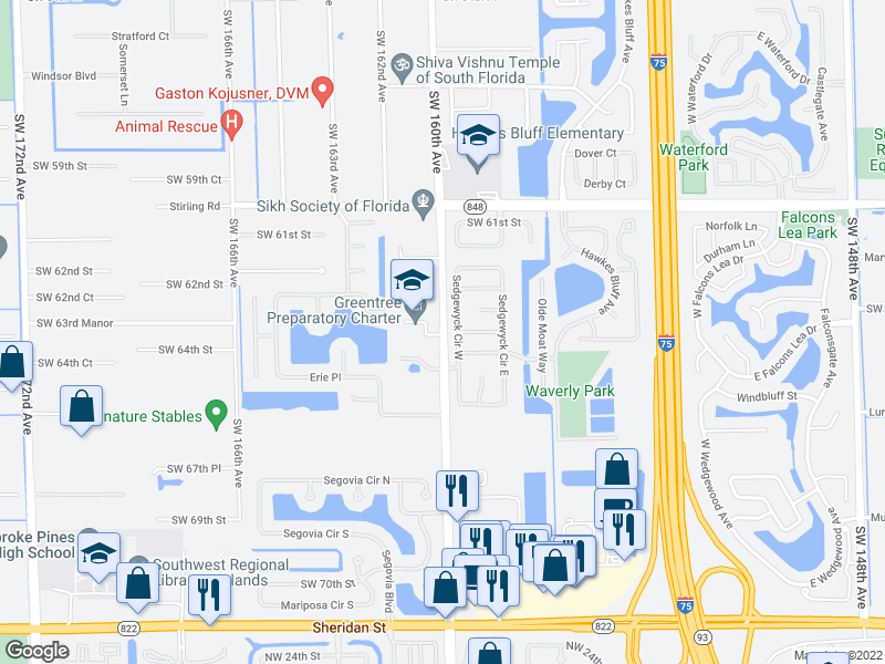 map of restaurants, bars, coffee shops, grocery stores, and more near 6331 Sedgewyck Cir W in Davie