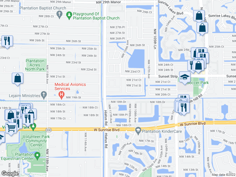 map of restaurants, bars, coffee shops, grocery stores, and more near 2060 NW 109th Ave in Sunrise