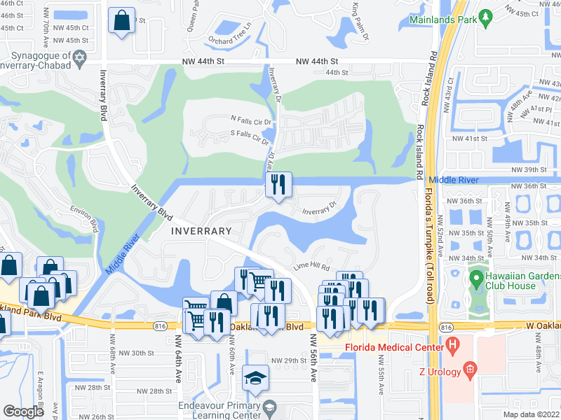 map of restaurants, bars, coffee shops, grocery stores, and more near 3760 Inverrary Drive in Lauderhill