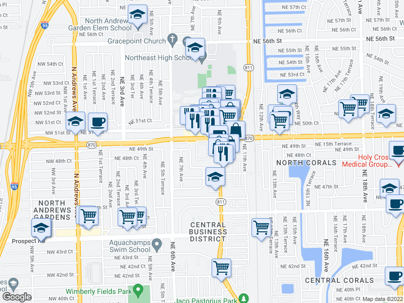 map of restaurants, bars, coffee shops, grocery stores, and more near  in Oakland Park