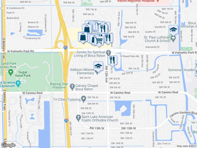 map of restaurants, bars, coffee shops, grocery stores, and more near 199 SW 12th Ave in Boca Raton