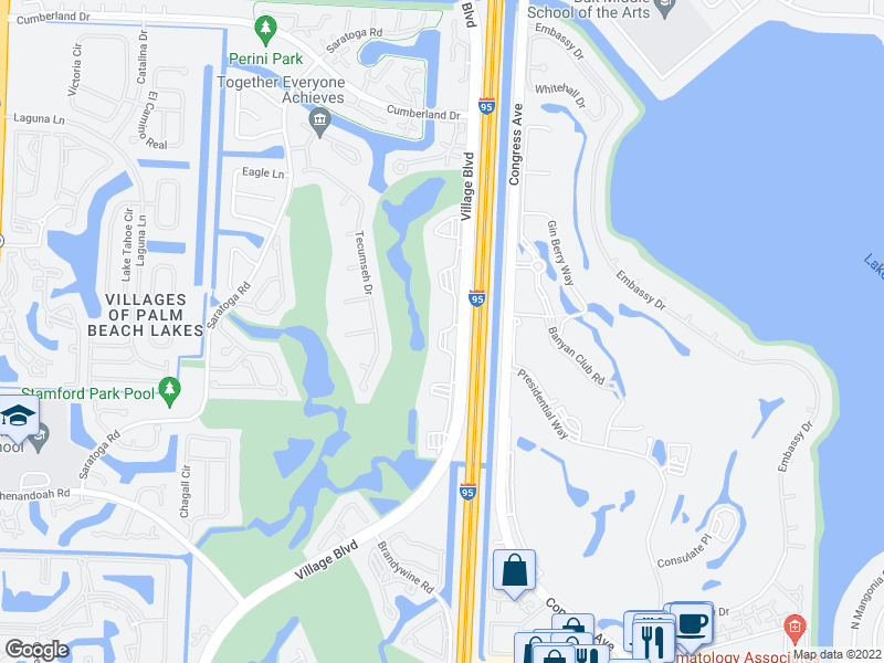 map of restaurants, bars, coffee shops, grocery stores, and more near 3511 Village Blvd in West Palm Beach