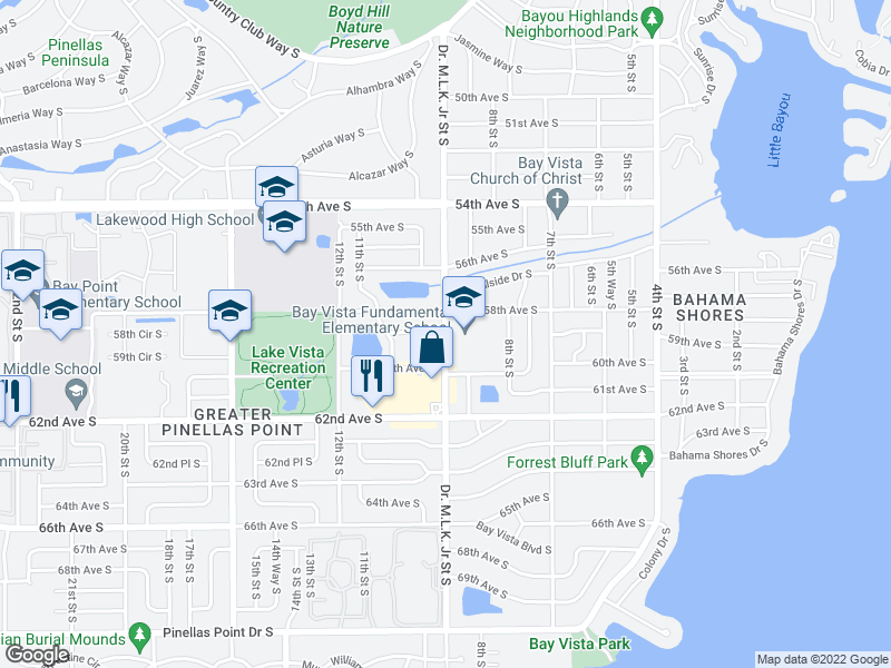 map of restaurants, bars, coffee shops, grocery stores, and more near 916 58th Ave S in St Petersburg