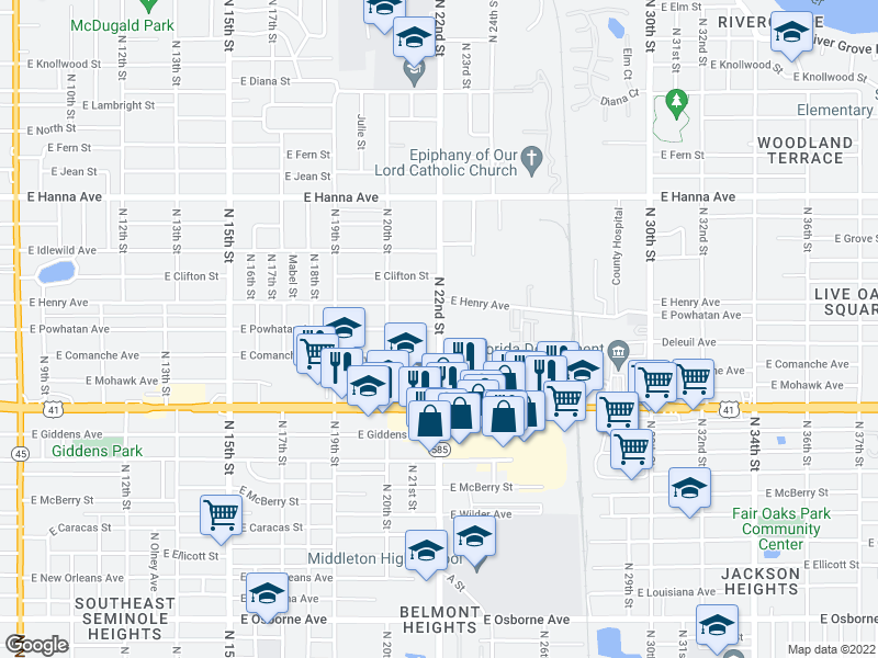 map of restaurants, bars, coffee shops, grocery stores, and more near N 22nd St & E Powhatan Ave in Tampa