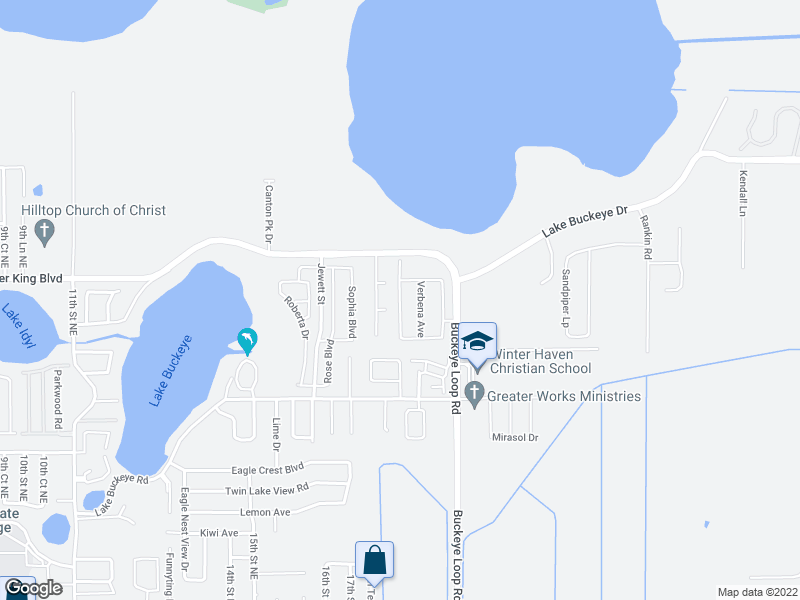 map of restaurants, bars, coffee shops, grocery stores, and more near 3064 Buckeye Point Dr in Winter Haven