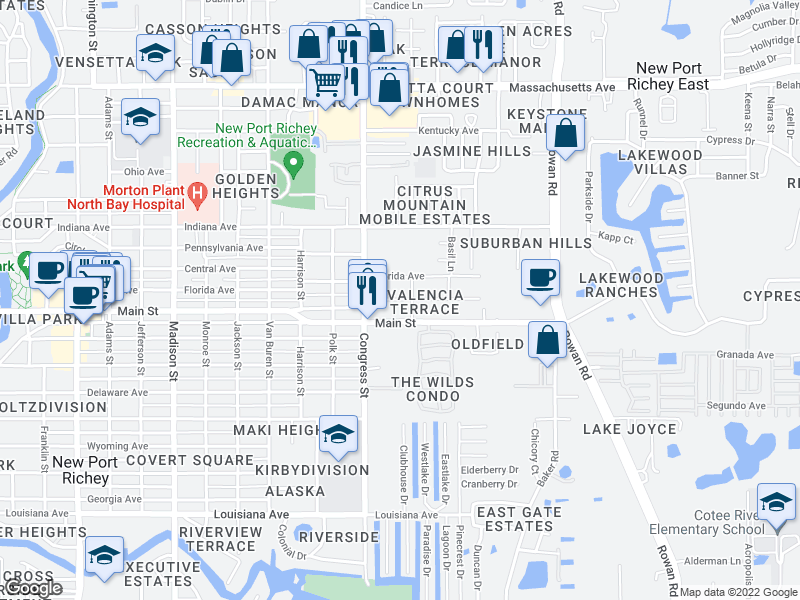 map of restaurants, bars, coffee shops, grocery stores, and more near 6550 Old Main Street in New Port Richey