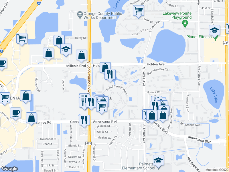 map of restaurants, bars, coffee shops, grocery stores, and more near 2532 Grand Central Pkwy in Orlando
