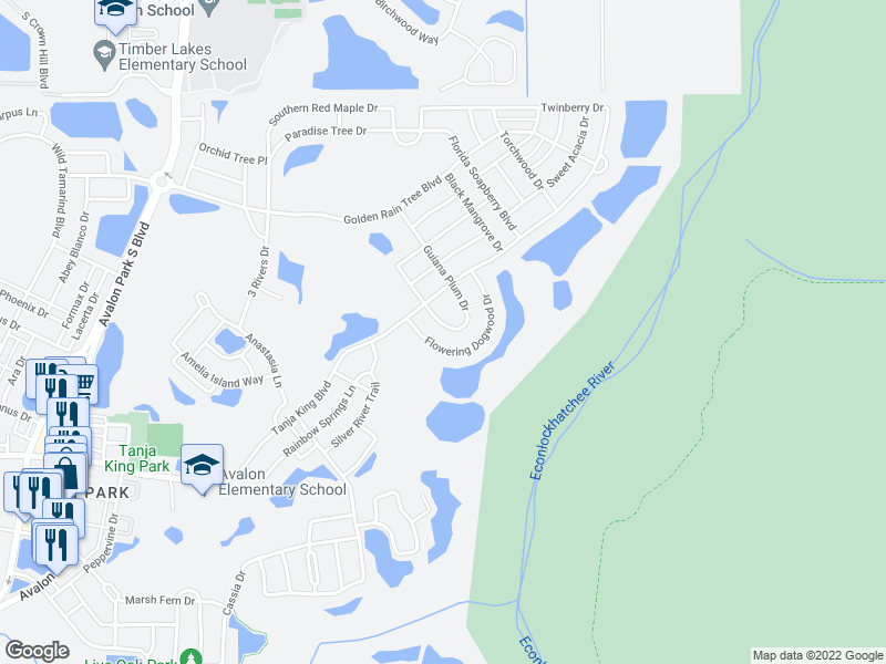 map of restaurants, bars, coffee shops, grocery stores, and more near 2537 Guiana Plum Drive in Orlando