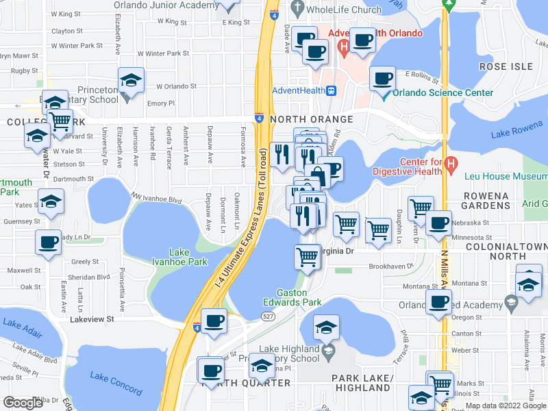 map of restaurants, bars, coffee shops, grocery stores, and more near 217 NE Ivanhoe Blvd in Orlando