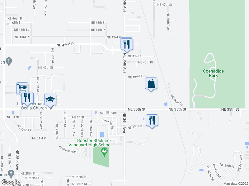 map of restaurants, bars, coffee shops, grocery stores, and more near 3600-3750 NE 36th Ave in Ocala